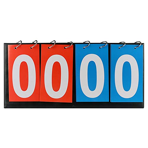 4-Digital Portable Table Top Scoreboard Flipper, Volleyball Basketball Table Tennis Sports Score Flip Scoreboard