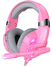 $24 » RUNMUS Gaming Headset Xbox One Headset PS4 Headset with Noise Canceling Mic & LED Light, Compatible with PC, PS4, PS5, Xbox One Controller(Adapter Needed), Pink
