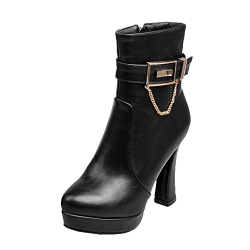 Latasa Womens High Heels Ankle High Fall Dress Boots With Zipper Black WPBihJ9Lc