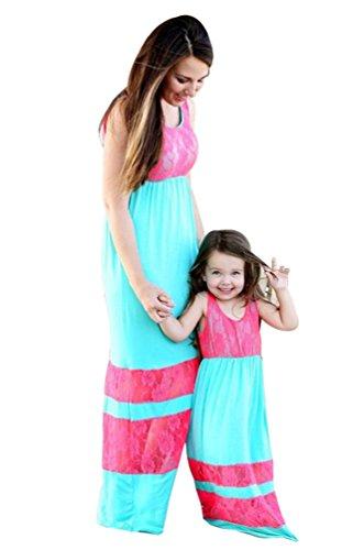 YOUJIA Boho Estampado Vestidos Verano Largo Sin Mangas Fiesta Vestido de Niña Casual Madre e hija Vestido de Familia #2 Cielo azul