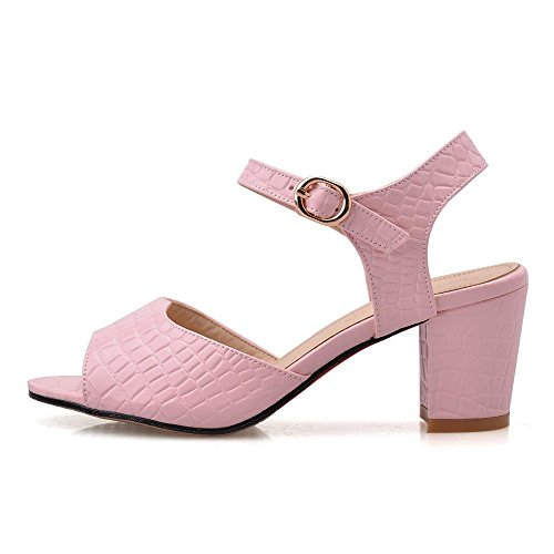 AllhqFashion Women's Buckle Open Toe Kitten-Heels PU Solid Sandals Pink LFCFjW