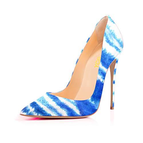 - Women's High Heels Party Wedding Pumps Blue White Stripe Cross Tattoo Printing Slip on Shoes US 13