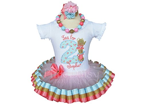 Girls Tea for 2 Birthday Outfit in Blue Pink Coral Gold with Personalized Shirt and Ribbon Trim (Gold Trim Saucer)