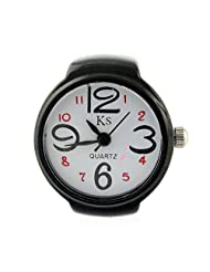 MapofBeauty Arabic Numbers Quartz Alloy Finger Ring Watch (WhiteBlack)