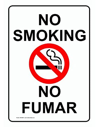 compliancesigns aluminum no smoking sign 14 x 10 in with english