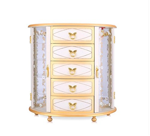 - LUCKYYAN Best Choice Products Handcrafted Wooden Jewelry Box European Retro Necklace Jewelry Storage Box Storage Cabinet, White