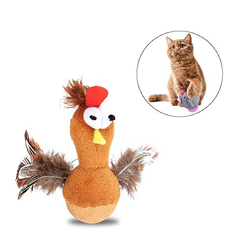 (AUOKER Cat Dog Interactive Toys, Roly-Poly Cat Chicken Toys,Adorable Tumbler Chew Toys with Shaking Nod Function Improve IQ and Resist Depression for Pets Dogs Puppies Kitty - Bird)