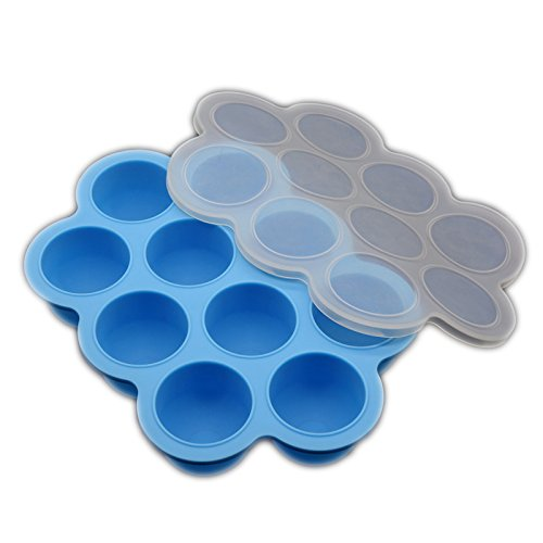 Baby Food Storage Container with Lid - Blue Silicone Freezer