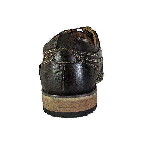 Steve Madden Mens P-kesslo Läder Cap Toe Oxford Skor Mörkbrun