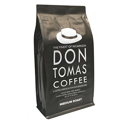 Medium Roast (1 Pound) Don Tomas Nicaraguan Coffee – Whole Coffee Beans – Rainforest Alliance Certified Farm