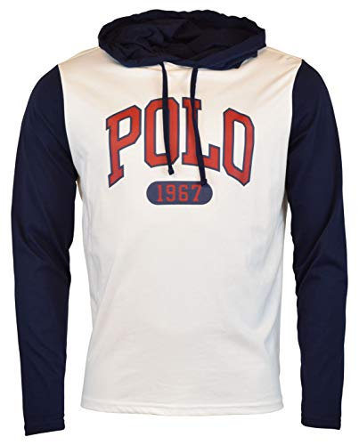 Polo Ralph Lauren Mens Accented Graphic 'Polo' Hooded T-Shirt (Medium, White)