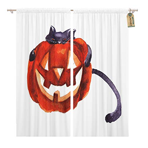 Golee Window Curtain Orange Happy Halloween Cat Hug