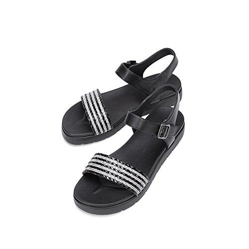 Farve Solid Kvinder 38 Hæle Dhg Høje Sko Flad Mode Søde Sort Sommer Sandaler Spids Lave Casual Hæle xxtvzR