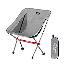 NaturehikePortable Camping Chair – Compact Ultralight Folding Backpacking Chairs, Small Collapsible Foldable Packable Lightweight Backpack Chair in a Bag for Outdoor, Camp, Picnic, Hiking (Gray)
