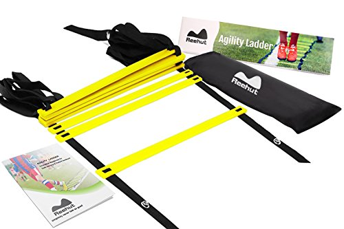 REEHUT AgilityLadderw/FREEUSERE-BOOK+CARRYBAG-SpeedTrainingEquipment (Yellow, 8 Rungs)