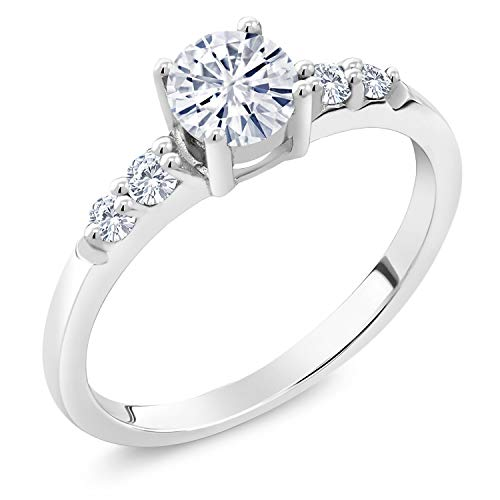 925 Sterling Silver Solitaire w/Accent Stones Lab Grown Diamond Ring Forever Classic Round 0.50ct (DEW) Created Moissanite by Charles & Colvard (Size 7)