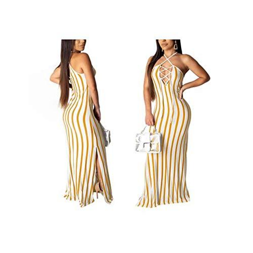 Sexy Dresses Sleeveless Cross Hanging Neck Dress Striped Floor Length Long Dress,Yellow,S