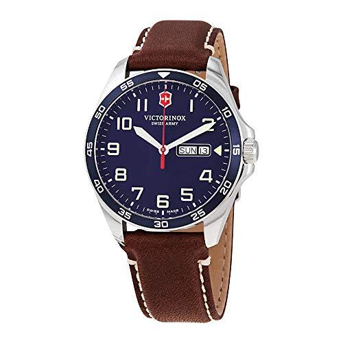 Victorinox Men's Fieldforce Stainless Steel Analog Quartz Watch with Leather Strap, Brown, 21 (Model: 241848)