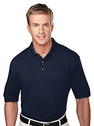 Tri Mountain Mens Big And Tall Pique Golf Shirt  Navy  Medium