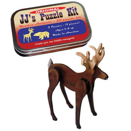 JJs JJs JJs Puzzle Kit, Original, Two 3-d Wooden Animals by Channel Craft by Channel Craft 560061