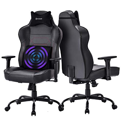 Big and Tall Massage Gaming Chair - Memory Foam Lumbar Cushion and Headrest, Adjustable Arms and Backrest High Back PC Racing Office Computer Desk Ergonomic Swivel Task Chair, Black
