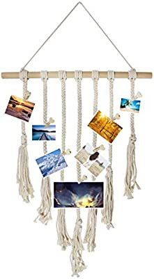 Yotako Macrame Wall Hanging Photo Display Wall Hanging Pictures Organizer Boho Home Decor,Cotton Cord with 25 Heart Wood Clips