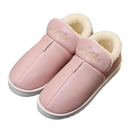 Resistente all'acqua pantofole di cotone femmina spessa inverno pacchetto completo con arredamento tomaia in cuoio pelle pu seguita da un paio di scarpe di cotone caldo maschio ,37-38 (35-36), cocomer