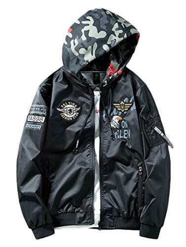 Fllay Men Reversible Bomber Sport Outwear Hooded Ma-1 Flight Jacket Coat Black L