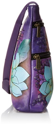 Travel Lilac Lush Organizer Hand Women's Anuschka Painted Crossbody Compact 8qXU804F