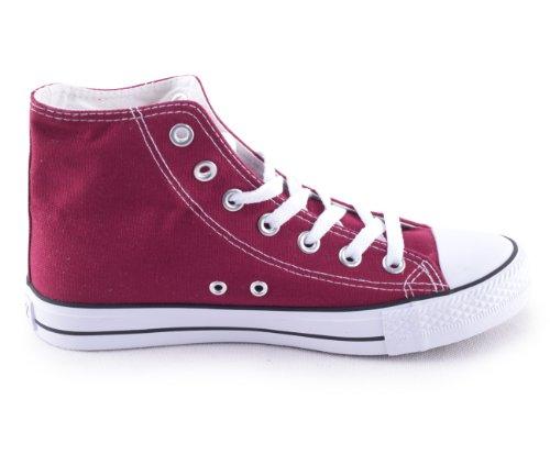 Damen Herren Unisex Canvas Leinwand Sneaker Basic High Schnürschuh in verschiedenen Farben Größe 36-46 Wine