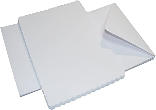 "New pack of 10 white 5/"" x 5/"" scalloped edged cards and envelopes"