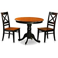 East West Furniture ANQU3-BLK-W 3 Piece with 2 Solid Wood Chairs Antique Dining Set