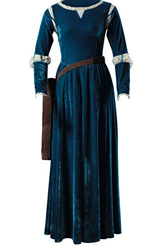 OURCOSPLAY Women's Floor-Length Brave Princess Gown Merida Cosplay Dress and Quiver (Women XXXL) Blue -
