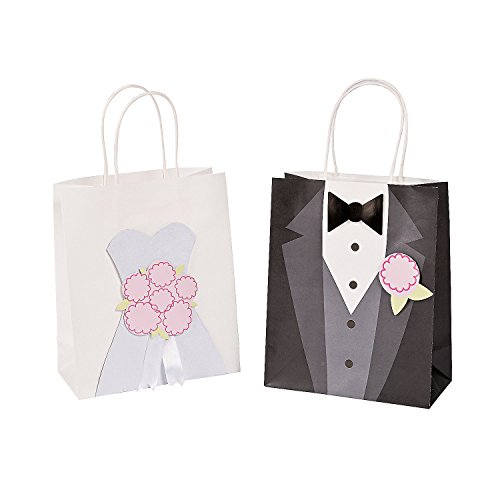 (Fun Express - Med Bride & Groom Craft Bags for Wedding - Party Supplies - Bags - Paper Gift W & Handles - Wedding - 12)