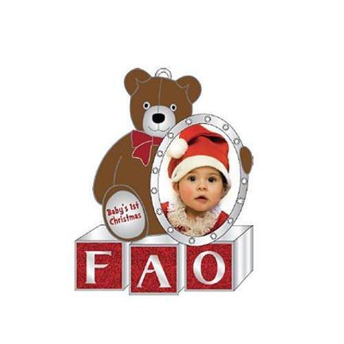 (FAO Schwarz Baby's First Christmas Teddy Bear Ornament with 15 Swarovski Elements Crystals)
