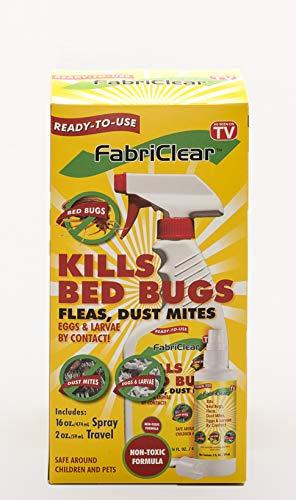 FabriClear Bed Bug, Dust Mite and Flea Killer Spray - NON-TOXIC - 16 oz plus 2 oz Travel Size…