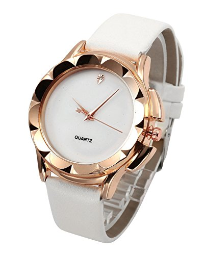 Top Plaza Classic Simple Style No Number Dial PU Leather Band Dress Analog Quatz Wrist Watch Rose Golden Rhombus Flower Case Elegant Business Watches for Womens Ladies(White)