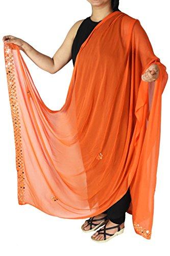 Semi Chiffon Orange Dupatta Chunni Stole Fashion Neck Wrap Hijab Scarf Mirror Border for Woman Wear by Stylob