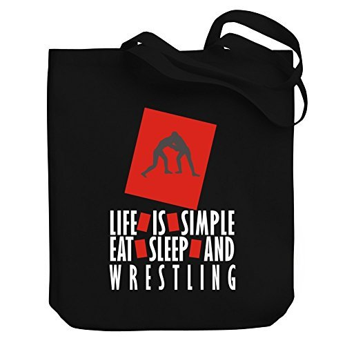Valentine Herty Shopping bag Life is simple Eat, sleep and Wrestling Canvas Tote Bag