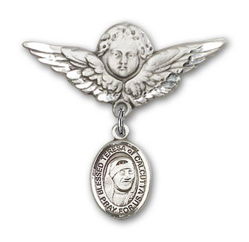 Icecarats Créatrice De Bijoux En Argent Sterling Bienheureuse Teresa De Calcutta Charme Ange Broche De Badge 1 1/8 X 1 1/8