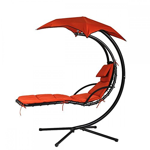 FILLBOSS Hanging Chaise Lounger Chair Swing Lounge Hammock for Outdoor, Outside and Patio with Stand with Canopy,Outdoor Furniture Hammock Chair Hammock Stand Hanging Chair Lounge Chair Porch Swing