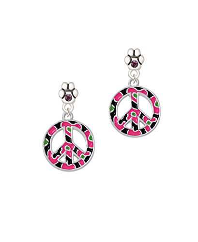 Large Hot Pink Cheetah Print Peace Sign - Purple Crystal Paw Earrings ()