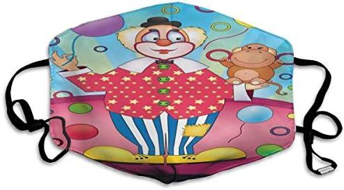 Mundschutz Gesichtssch Clown Zirkusmuster Schule Unisex Adult Cosy Wiederverwendbare Anti Dust Park Waschbares Modedesign Bunter Druck Schöner Außenbereich Bequem