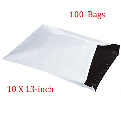 SJPACK 10x13-inch 100 Bags 2.5 Mil Poly Mailers Envelopes Bags With Self-sealing Stripe, White Poly Bags
