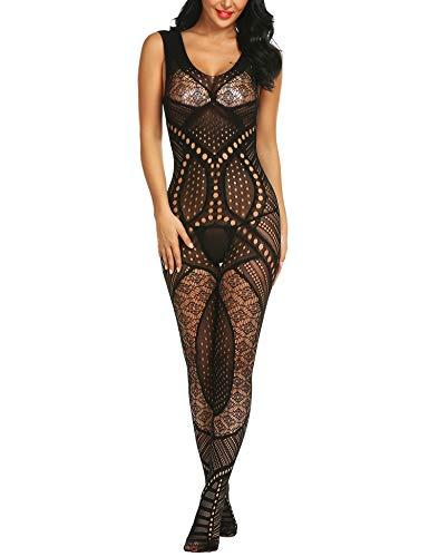 Honney Women's Sleeveless Bodysuit Very Stretchy Nightgrown Transparent Open Pants Bodystocking -