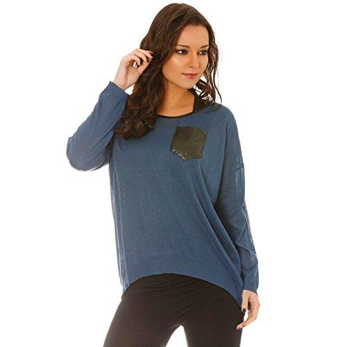 Miss Wear Line - Top fin ample bleu marine bi-matière, poche en simili cuir sur le devant