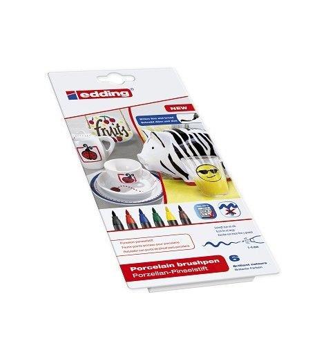 Porzellan-Pinselstift 6er Set Family Colour Edding Flexible Pinselspitze mit variabler Strichbreite, Verpackungseinheit: 2 Stück