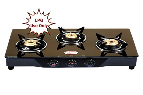 brightflame 3 Burner Black Glass Top - MS