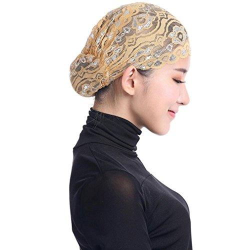Stretch Veil (SUKEQ Women Stretch Shiny Lace Head Islamic Cover Hijab Hat Bonnet Underscarf Caps (Yellow))