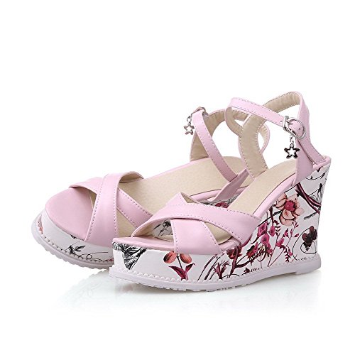 AllhqFashion Women's Solid Pu High Heels Open Toe Buckle Sandals Pink aWVs8